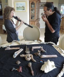 Exploring ancient flutes with Chris Garcia.